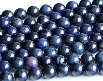Natural Genuine High Quality Dark Blue Dumortierite Round Loose Beads 6mm 8mm 10mm 12mm 05236