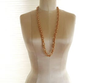 Joan River's Goldtone Chain Link Necklace Chunky Bold Long Statement Necklace Signed