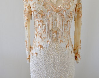 Art Deco Off White Sequins Pearls Beaded Wedding Dress Fringed Cocktail Party Shabby Chic wedding