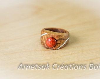 Ring metal aluminum/ring/stone Insert/mimosa wood/wooden fine Jasper red/for women