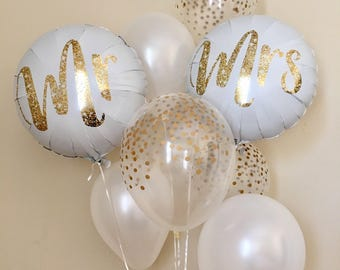 Mrs balloon bouquetgold confetti look balloonswedding mr and mrs balloonsgold confetti look balloonswedding balloonsbridal shower balloons junglespirit Gallery