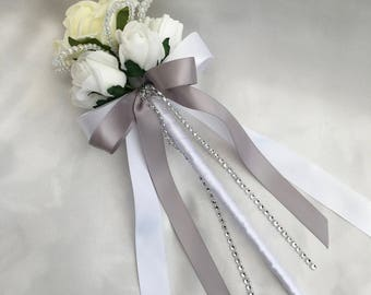 Artificial Wedding Flowers, Flower girls, Bridesmaids, Wand, Lemon and White Roses with crystals