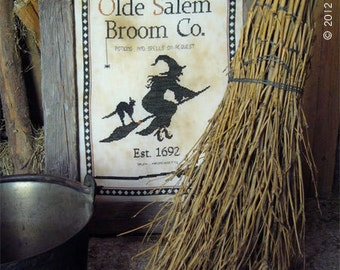Olde Salem Broom Co. Halloween cross stitch pattern by The Primitive Hare at thecottageneedle.com October witch flying broom primitive