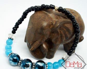 Blue Cat's Eye Beaded Bracelet