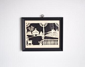 Vintage Framed Paper Cutting