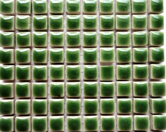 100 (10mm) MINI Eucalyptus Green Glazed Ceramic Tiles Mosaic Supplies//Mosaic Pieces//Crafts