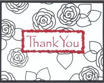 Romantic Roses Thank You Note Cards - Set of TEN