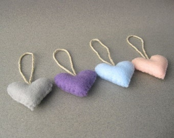 Eco Pastel Heart Ornaments Recycled Felt baby pink, gray, baby blue, violet set of 4