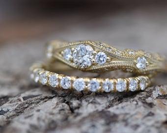 Filigree engagement wedding set-Diamond Bridal set-Gold Ring -Promise ring-Art deco ring - Bridal Jewelry-Unique diamond ring-Vintage ring