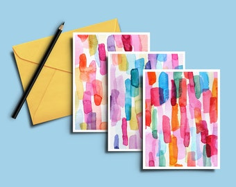 Watercolor Cards, Card Set, Colorful Blank Cards, Painted Cards, Set of Cards, Inspiration Cards, Vibrant Art Cards, Painted Cards, Painting