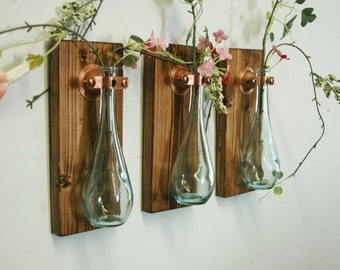 Teardrop Bottles Trio (3) Wall Decor each mounted on wood base for unique rustic bedroom decor kitchen decor