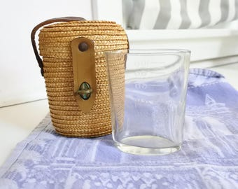 Antique French Glass, Spa Water Sampling in its original Wicker Carrying Case - Chatel Guyon, Victorian, Rare, Valentines gift, Collector