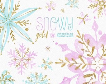 Snowy Gold. Watercolor winter clipart, snowflakes, christmas, holiday, invitations, greetings card, diy, decoration, merry, pink, png