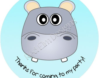 "Hippo Stickers - Sheet of 20 - 2"" round.  Hippo Zoo Birthday Party Favors.  2 Inch Round Hippo Stickers"