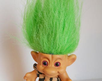 Troll Cheetah Print Toga Doll Lime Green Hair / Pink Eyes Toy Figure 1990s- Marked Forest Troll China