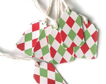 10 Holiday Green and Red Gift Tags Checkered Diamond Harlequin Design 2 x 1 3/16 inches