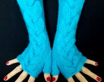 Turquoise Blue Fingerless Gloves  Angora Mohair Mittens Cabled Hand Knitted Extra Soft and Warm Women Gloves