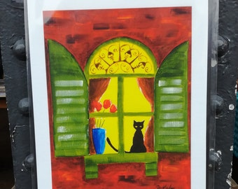 High-Quality A3 Size Giclee Print of Black Cat in Window