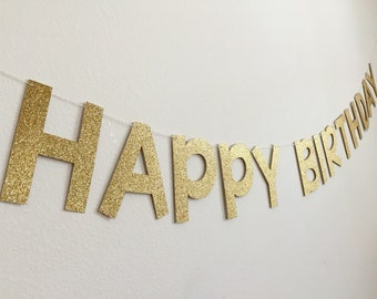 Gold Happy Birthday Banner, Gold Birthday Banner, Happy Birthday Banner, Silver Birthday Banner, Gold Happy Birthday Banner