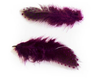 "Dyed Purple Guinea Hen Feathers 2-4.5"" | 25 pcs."