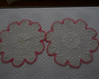 """Pair of Sweet Vintage ~ Pink & White Crocheted  Doilies ~ Doily Pair~ Beautiful Rose Cottage~ 15"""" ~ Shabby Chic ~ Scallop Floral"""