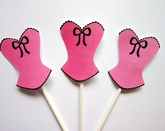 Corset Cupcake Toppers, Lingerie Cupcake Toppers, Bachelorette Party Cupcake Toppers, Pink Corset Cupcake Toppers