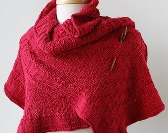 Rococo Hand Knit Shawl in RED, Luxurious Cotton and Silk Wrap, Women's, Scarf, Wedding, Ruffle, Bride, Natural, Made in USA