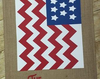 Peronalized American Flag Chevron Burlap Garden Flag W/Family Name