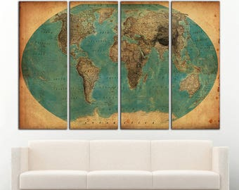 World map on canvas etsy world map old antique world map canvas wall art vintage world map large antique world map gumiabroncs Images