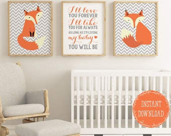 Woodland Nursery Decor Fox Wall Art Themed Ill Love You Forever Orange PRINTABLE