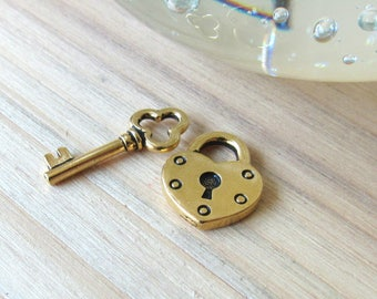 Heart and Key charms, made in the US, gold heart, key charm, lock charms, love pendants, bracelet charms, necklace charms