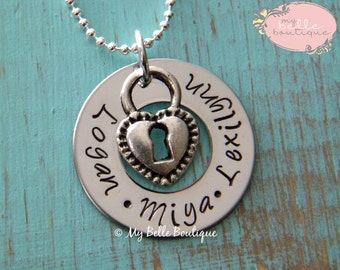 Personalized Hand Stamped Washer Necklace with Silver Tone Heart Lock Charm