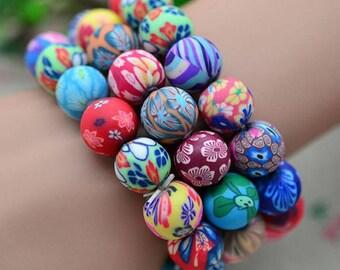 3pcs Colorful stretch BRACELET ,random beads color,10mm.