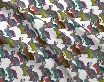 Rabbits Block Print Fabric - Rabbits By Linsart - Block Print Rabbits Bunnies Multicolor Easter Cotton Fabric By The Yard With Spoonflower