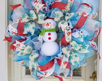 Snowman wreath / Snowman / Deco Mesh Wreaths / Winter Wreaths /Christmas Wreaths / Wreaths / Door Wreasths / Christmas / cyber monday