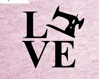 LOVE SEWING decal, sewing decal, I love to sew decal, sewing car decal, sewing yeti decal, sewing machine decal