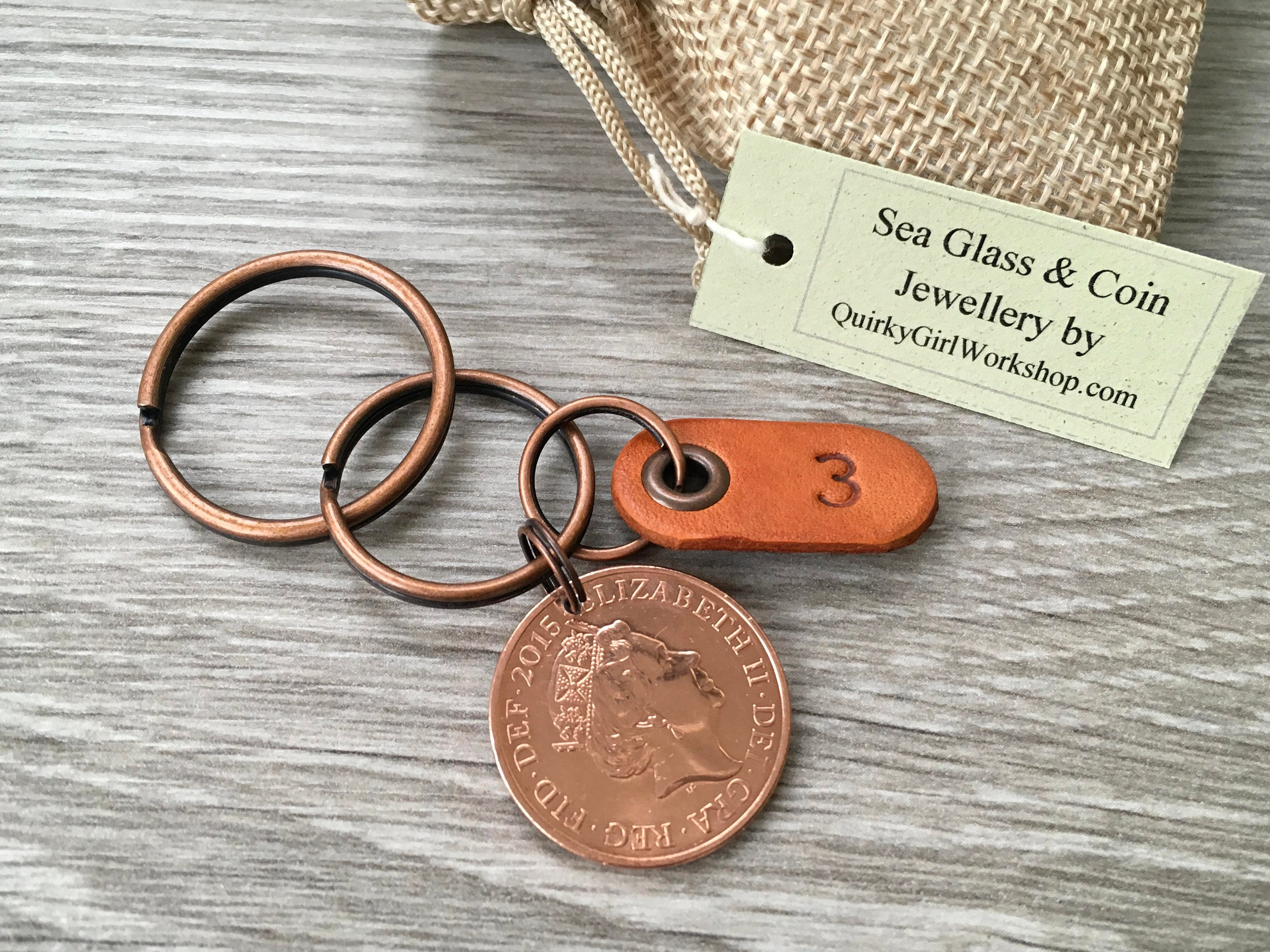 Rd anniversary gift coin keyring keychain leather wedding