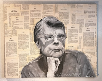 Original Stephen King Portrait on pages of The Shinning