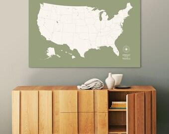 Push Pin Travel Map, US Map, Pin Map, Push Pin Map, USA Map, Map of USA, Map of Us, Canvas Map, Custom Travel Map, Our Travels, Travel Map