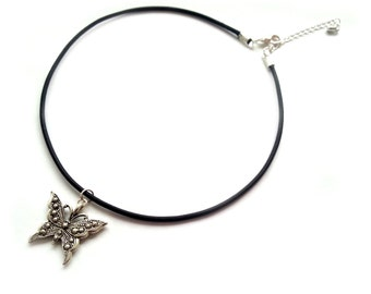 Butterfly Choker, Silver and Black Leather Cord Choker Necklace, Charm Jewelry, Silver Plated