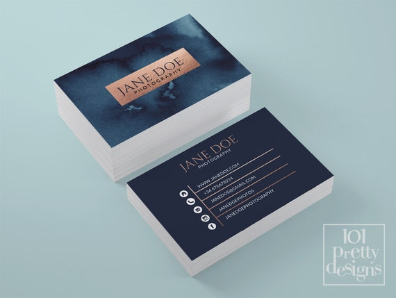 Watercolor business card template rose gold printable business watercolor business card template rose gold printable business card design gold and navy business cards business card rose gold foil makeup colourmoves Gallery