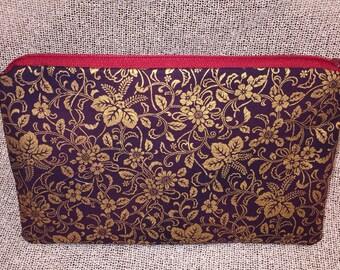 Gold Purple floral zipper pouch