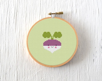 PDF Pattern - Little Turnip Cross Stitch Pattern, Kawaii Turnip Cross Stitch Pattern, Garden Turnip Embroidery Pattern