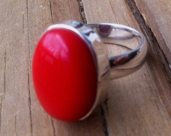 Coral Ring Red Coral Ring Red Gemstone Coral Statement Ring Oval 925 sterling silver Cabochon bezel set Gift for her Size 13