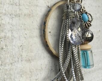 Bead and Tassel Charm Cluster Pendant Key Chain or Purse Zipper Charm Blue Silver