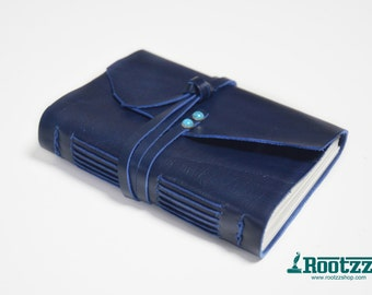 Blue leather journal with Turquoise - traveler's notebook - journal - travel journal - pocket size
