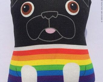 Rainbow Sweater Buddy- Small Black Pug Plush