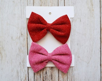 Valentines Day hair clips, Pick color, Valentines day hair bow, toddler hair bow, red hair bow, shimmery hair bow