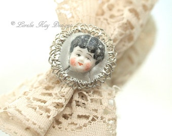 Charlotte China Doll Face Ring Doll Head Ring Fine Silver Plated Lorelie Kay Designs Doll Jewelry