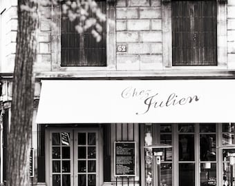 Paris Cafe Photograph, Chez Julien, Black and White Photo, Large Wall Art, French Kitchen Decor, Fine Art Travel Photograph